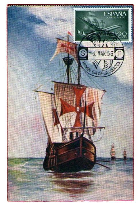 La Santa María, en un sello de los años 50. Imagen: Todo Colección