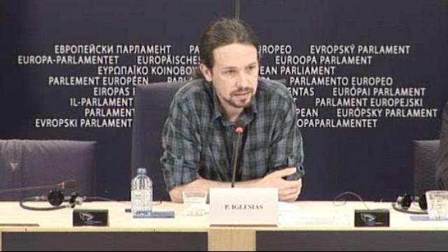 Captura: Rueda de prensa de Pablo Iglesias en el Parlamento Europeo