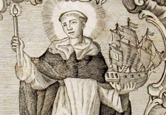 Típica representación de San Telmo como patrón de los marineros (La imagen corresponde al fraile Pedro González, un personaje que también se identifica como San Telmo)