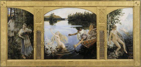 """La leyenda de Aino (Aino-taru, 1891). Museo de arte Ateneum[1] (Helsinki). Este famoso """"Tríptico de Aino"""" representa la historia de la hermana del atolondrado Joukahainen, quien, a cambio de su libertad, se la ofreció al viejo rapsoda Väinämöinen, ante el que había perdido una competición de poesía. IZQUIERDA: Encuentro en el bosque entre la muchacha y el viejo rapsoda. DERECHA: Aino oye la llamada de las doncellas de la diosa del mar Vellamo. CENTRO: El viejo desecha un pez pequeño que resulta ser Aino, que se ríe de él y se le escapa."""