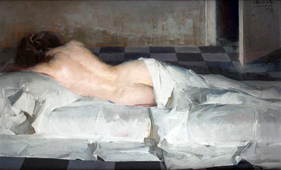 Desnudo femenino recostado de espaldas
