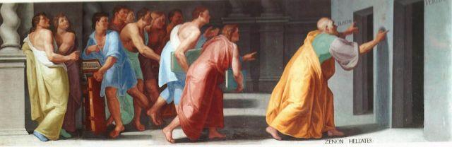 Zenón muestra las puertas a la verdad y la falsedad (Veritas et Falsitas). Fresco en la Biblioteca de El Escorial, Madrid.
