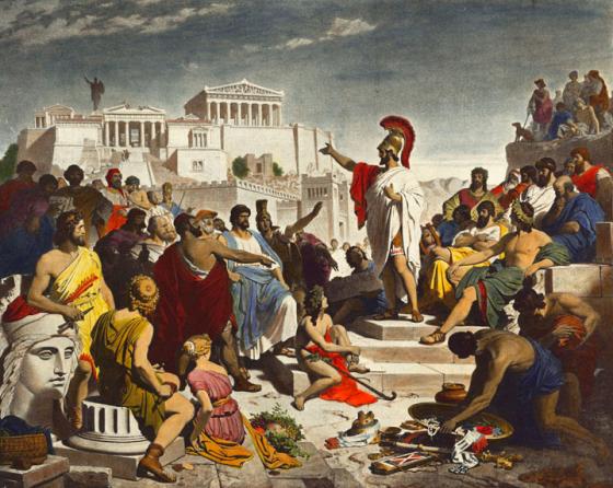 Representación de Perícles, en medio del discurso.