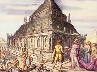 El mausoleo, en un grabado coloreado a mano diseñado por Martin van Heemskerck (siglo XVI).