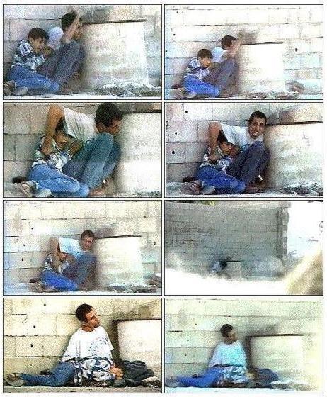 Secuencia del dramático asesinato del niño palestino de once años Muhammad al-Durra por soldados israelíes el 30 de septiembre del 2000 en las afueras de Gaza. Su padre, aunque recibió doce balazos, logró salvar la vida