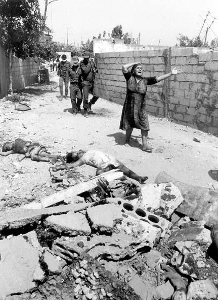 Escena de Sabra y Chatila después de la masacre