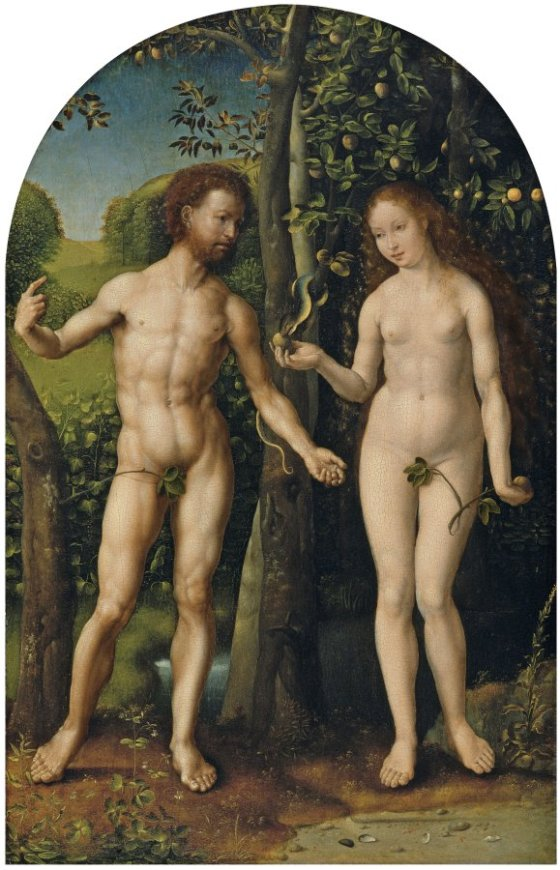 Adán y Eva, de Jan Gossaert (1507-1508). Colección Museo Thyssen.