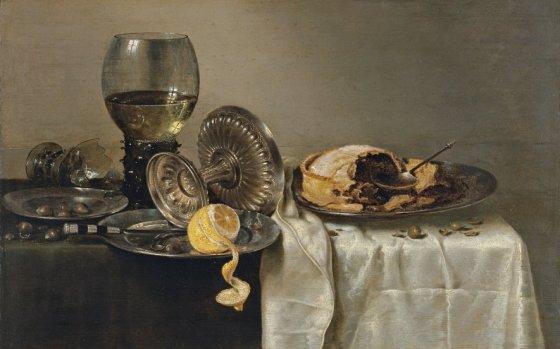 Willem Claesz. Heda. Bodegón con pastel de frutas y diversos objetos 1634. Colección Museo Thyssen.