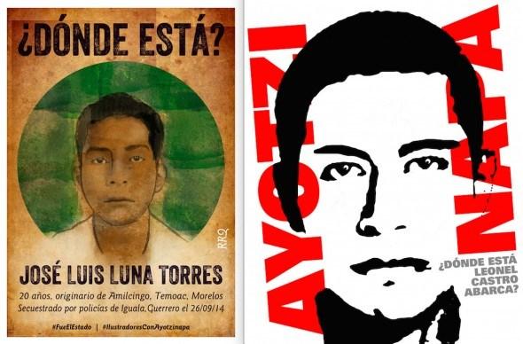 Carteles de los ilustradores FJDTewpoztlán y Fernando Rodríguez pidiendo que aparezcan José Luis Luna Torres y Leonel Castro Abarca.