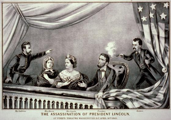 Asesinato de Abraham Lincoln. De izquierda a derecha: Henry Rathbone, Clara Harris, Mary Todd Lincoln, Abraham Lincoln y John Wilkes Booth (Grabado de Currier and Ives, 1865).
