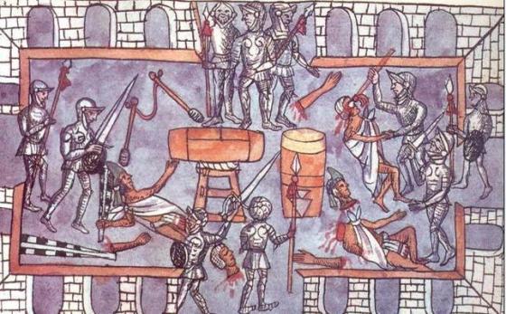 Pintura que representa la matanza del Templo Mayor