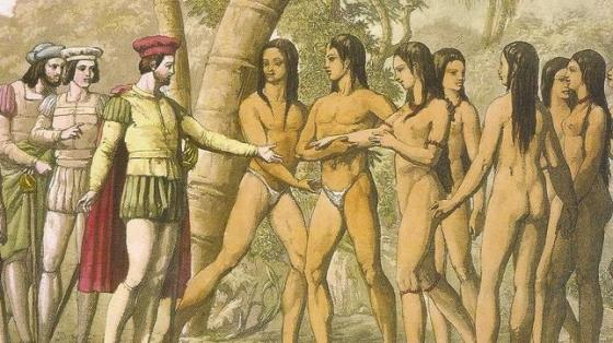 ABC  .  Hernán Cortés, junto a sus lugartenientes, durante uno de los episodios de la conquista de México