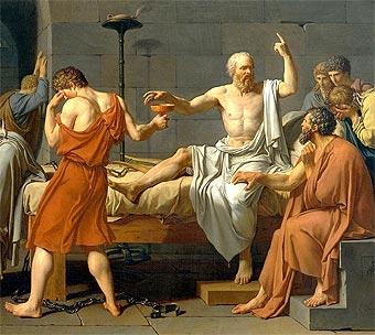 Sócrates toma la cicuta (detalle de un óleo de David)