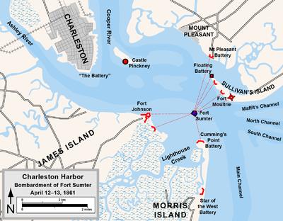 Puerto de Charleston, mostrando fuertes y posiciones de artillería confederados