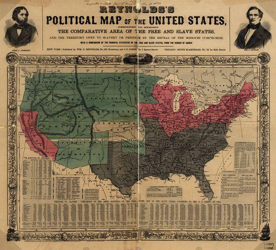 Mapa de 1856 mostrando los estados esclavistas (gris), estados libres (rojo) y Territorios (verde), con Kansas en el centro (blanco).