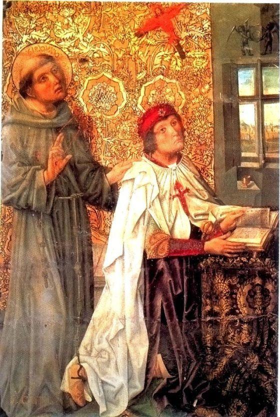 Álvaro de Luna con la capa de la Orden y cruz de Santiago al pecho, del retablo del Maestro de los Luna en la capilla de Santiago en la catedral de Toledo. Fue Maestre de la Orden desde 1445 a 1453. La tabla está pintada en 1488.