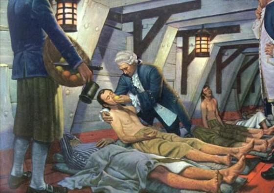 James Lind dando cítricos a enfermos de escorbuto