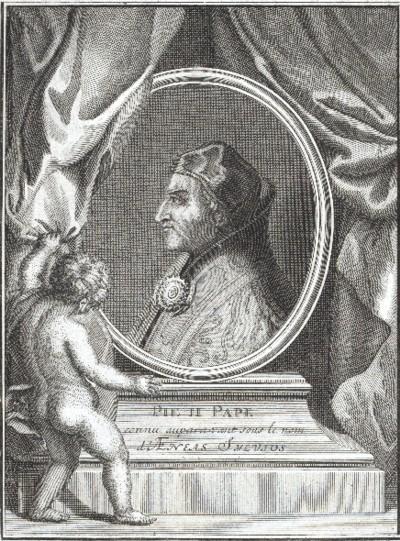 Pío II, grabado de Jean-Baptiste Scotin