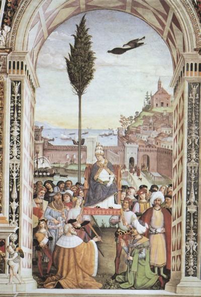 Escena de la vida de Pío II, Biblioteca Piccolomini, catedral de Siena