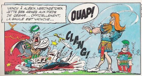 La viñeta de 'El escudo arverno' que bromea sobre Vercingetorix arrojando sus armas a los pies del César. © …