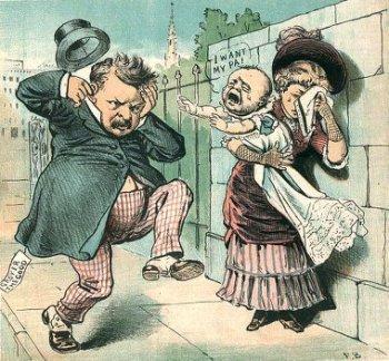 Caricatura sobre el escándalo de la demanda de paternidad puesta a Grover Cleveland (Wikimedia commons)