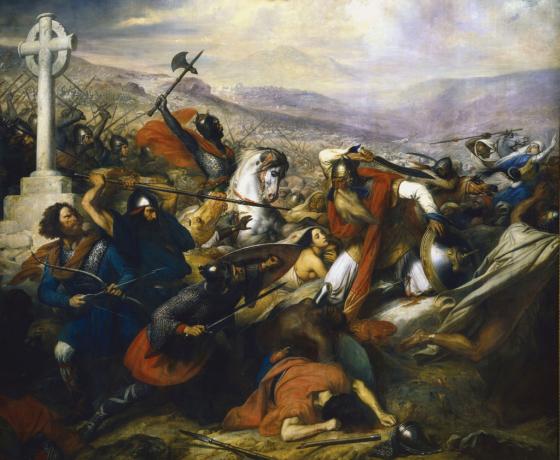 Representación del Siglo XIX de Carlos Martel en la Batalla de Poitiers del año 732