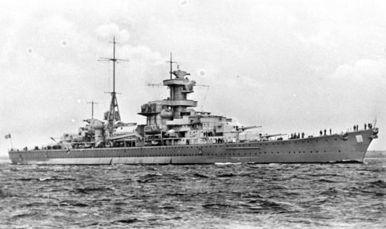 El crucero pesado Blücher, de la misma serie que el Hipper, y también encargado en 1934.