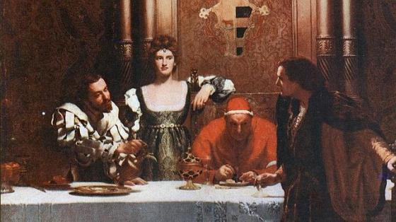 Cuadro «Un vaso de vino con César Borgia», de John Collier. - ABC