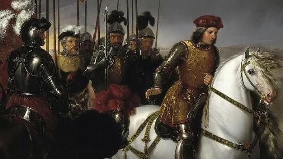 El Gran Capitán observa el cadáver del Duque de Nemours con sus oficiales a la espalda - Museo del Prado.