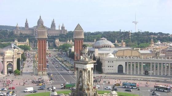 Fotografía general de la Plaza de España, en Barcelona