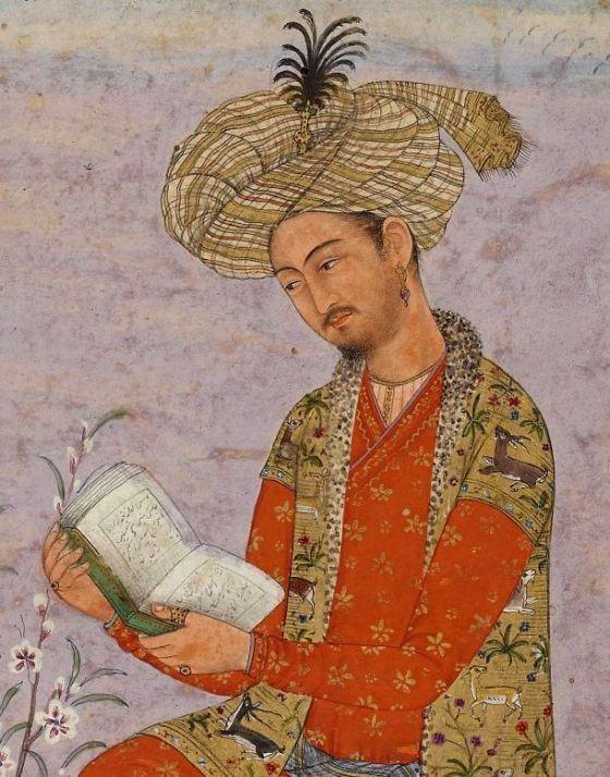 Retrato de Babur en una miniatura mogol