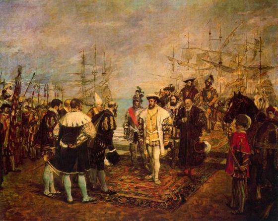 Francisco I, prisionero de Carlos V, desembarca en España