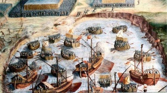 Niccolò Granello . Desembarco de los tercios, fresco en la Sala de las batallas del Monasterio de El Escorial