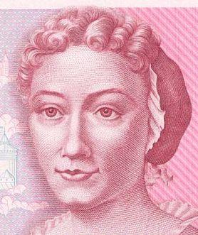 Retrato de Maria Sibylla Merian en el billete de 500 marcos alemanes.