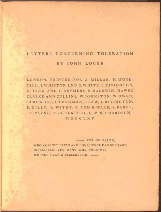 Carta sobre la tolerancia. Portada de una edición de 1765.