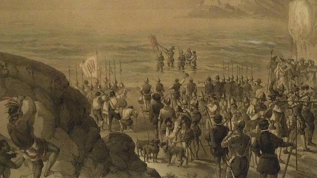 Vasco Núñez de Balboa toma posesión del mar del Sur -el océano Pacífico-, grabado del Museo Naval