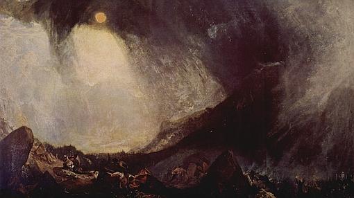 Tempestad de nieve: Aníbal y su ejército atravesando los Alpes: Joseph Mallord William Turner- Wikimedia