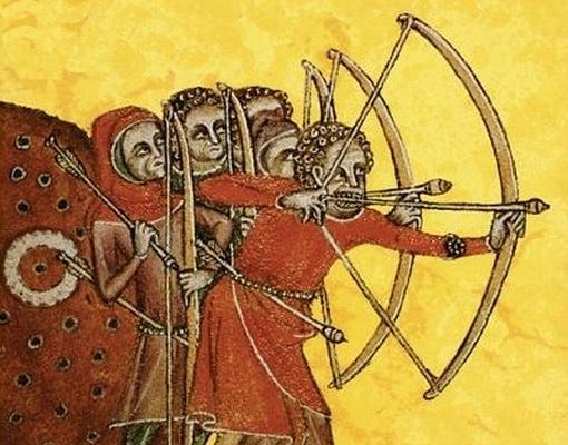 Arqueros ingleses equipados con arco largo- Wikimedia