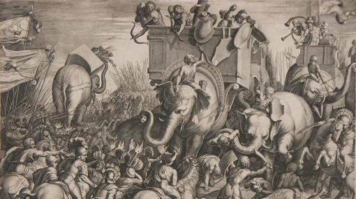 Grabado de la batalla de Zama, donde Aníbal fue derrotado por Escipión- Wikimedia