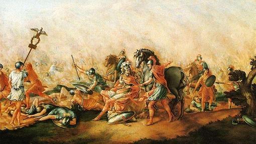 Cuadro que representa la muerte de Lucio Emilio Paulo en la batalla de Cannas- Wikimedia
