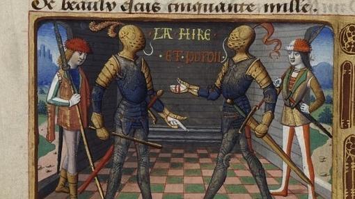 """Dos de los oficiales franceses (uno de ellos, """"La Hire"""")- Wikimedia"""