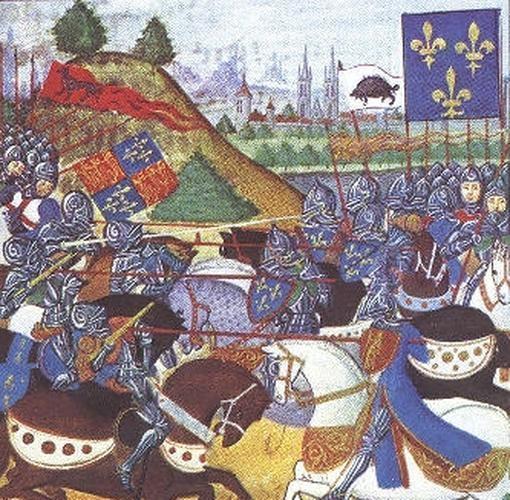 Pintura mal interpretada de la batalla de Patay- Wikimedia