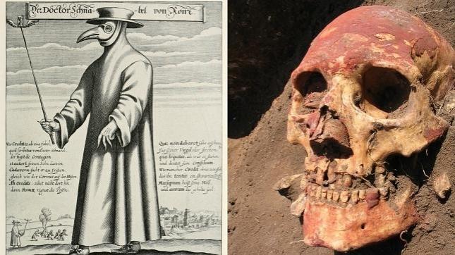 A la izquierda, un «médico de la peste», en la Edad Media, a la derecha, un poblador europeo de la Edad del Bronce - Paul Fürst/Natalia Shishlina