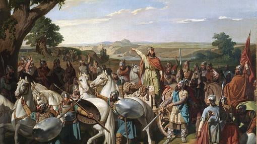 El Rey Don Rodrigo arengando a sus tropas en la batalla de Guadalete- Museo del Prado