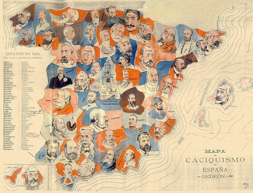 Mapa de los caciques en España a finales del siglo XIX. / GEDEÓN (ARCHIVO BNE)