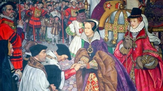 María I de Inglaterra entrando en Londres para tomar posesión del trono en 1553 - Wikimedia