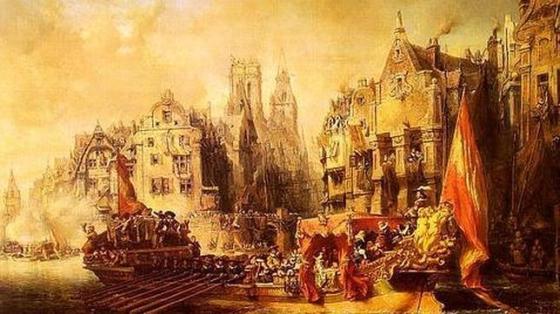Llegada del Duque de Alba a Rotterdam, por Eugène Isabey (Museo d'Orsay, en París)