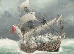 Representación moderna del naufragio del HMS Sussex pintado por John Batchelor. ODYSSEY MARINE EXPLORATION