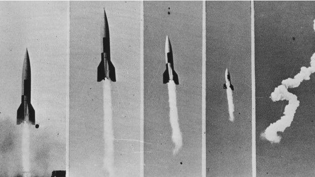Al otro lado del Atlántico la historia fue distinta. En la foto, prueba con V2 en Nuevo México, en 1945