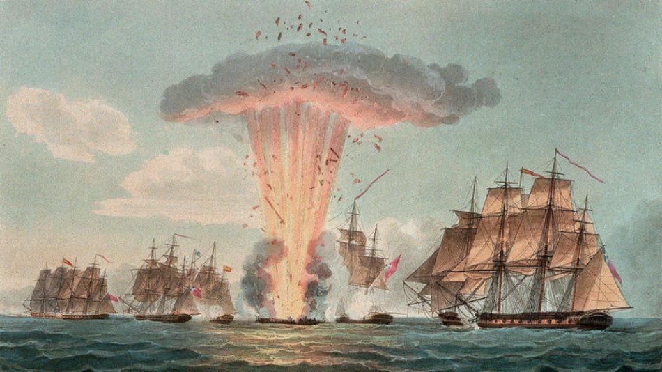 La explosión de La Mercedes vista por el pintor británico Nicholas Pocock.